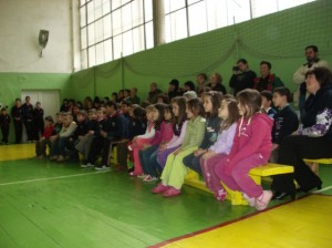 School for disabled children - waiting for the Christmas puppet show to begin