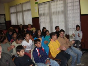 Stob orphanage - children watching the Christmas puppet show