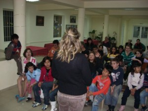 Children hearing the Christmas story and the good news