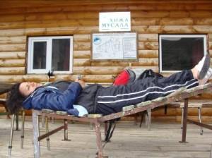 Didi having a well earned rest on Mt Musala