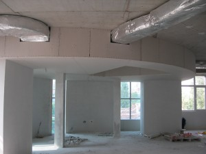 Plastering the Centre main entrance - June 2009